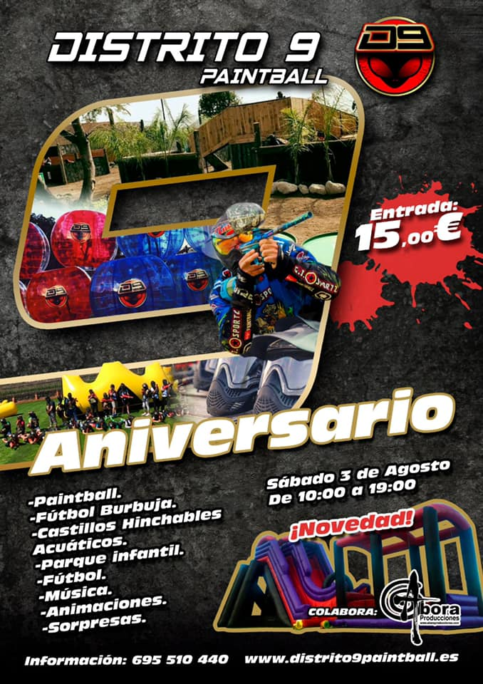 cartel aniversario distrito 9 paintball tenerife